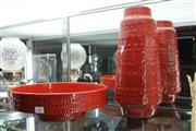 Sale 8283 - Lot 61 - Red Glaze Mid Century Style Vase with a Similar Footed Bowl