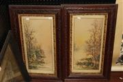 Sale 8362 - Lot 298 - Pair Of Lakeside Landscape Water Colours Signed