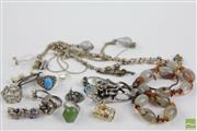 Sale 8494 - Lot 2 - A GROUP OF SILVER JEWELLERY; 2 chain, agate bead necklace, glass bead necklace by Mimco, pearl brooch, 7 pendants, a pearl clasp, 7...