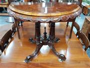 Sale 8831 - Lot 1006 - Victorian Walnut and Inlaid Fold Over Card Table