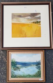 Sale 9036 - Lot 2073 - Ron Stannard Rains over the Yellow Plains 1975 oil on paper 41 x 44cm (frame) signed, together with a painting by Maida White Wis...