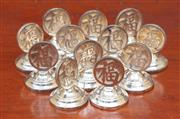 Sale 9055H - Lot 92 - A quantity of Chinese character marked sterling silver place name holders.