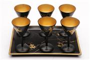 Sale 9057 - Lot 37 - Set of six lacquered goblets with gilt interior together with maple leaves themed tray (W24cm)