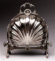 Sale 9078 - Lot 19 - Silver plated shell form biscuit barrel (H28cm)