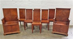 Sale 9102 - Lot 1079 - Set of Eight Early 20th Century Maple Chairs Possibly for Freemasons, including two armchairs with lockable seat chests, all with qu...