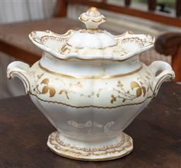 Sale 9120H - Lot 205 - A Copeland and Garrett gilt and cream lidded twin handled pot, Height 17cm,  some loss