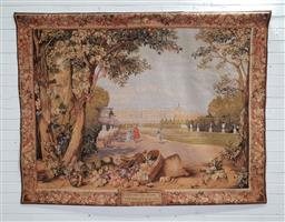 Sale 9179 - Lot 1015 - Large Garden of Versailles Tapestry, with a deep perspective of the garden with the chateau in the distance and an upturned basket...