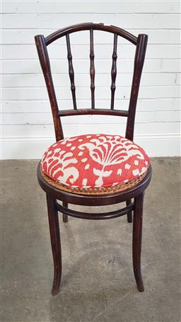 Sale 9188 - Lot 1520 - Spindle back dining chairs with rattan and cushion seat (h:92 x d:41cm)