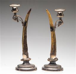 Sale 9211 - Lot 1 - A Pair of Joseph Rodgers & Sons Sheffield Horn and Silverplate Candlesticks (H:37.5cm)