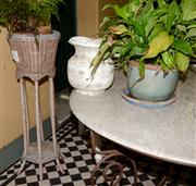 Sale 8080A - Lot 5 - Timber barley twist candlestick, 2 garden pots and cane planter with maiden hair fern