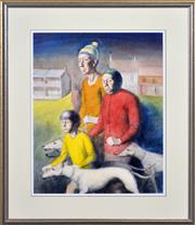 Sale 8382 - Lot 512 - Terence (John) Santry (1910 - 1990) - Walking the Greyhounds 62 x 49cm