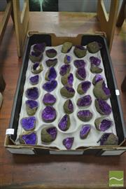 Sale 8406 - Lot 1151 - Tray Purple Split African Geodes