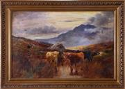 Sale 8530A - Lot 31 - Charles W Oswald, 1890 - 1899 - Highland Cattle 51 x 76 cm