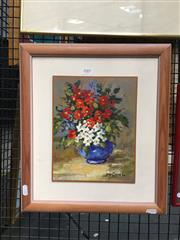 Sale 8752 - Lot 2007 - Jeane Geddes - Still Life oil on board, 41.5 x 36cm (frame), signed lower right