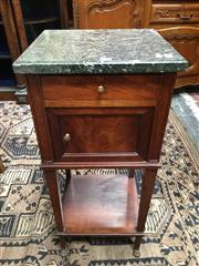Sale 8882 - Lot 1014 - French Mahogany Bedside Cabinet with green marble top, a drawer, single door & open shelf