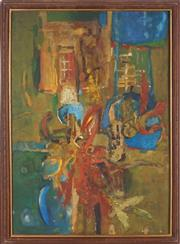 Sale 8906 - Lot 2005 - Merv Moriarty (1937 - ) Abstract oil on board, 83 x 59cm, signed -