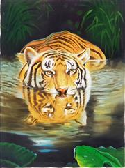 Sale 8973 - Lot 2037 - Artist Unknown Crouching Tiger acrylic on canvas, 120 x 100cm, unsigned