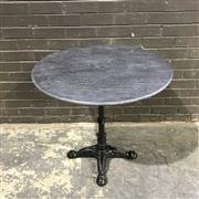 Sale 8975K - Lot 86 - Kitchen Table with Black Marble Top above Cast Iron Base - 80cm diameter