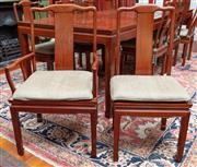 Sale 9020H - Lot 34 - A set of Chinese rosewood chairs comprising eight plus two carvers silver green silk upholstery cushion pads