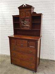 Sale 9068 - Lot 1058 - Unusual late Victorian walnut chest of drawers, with superstructure of shelves and central mirrored cupboard, with tympanum top, fit...