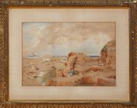 Sale 9080H - Lot 48 - D Pringle 1893, Coastal Scene, Watercolour signed and dated Lower Left,  in a gilt frame, 37cm x 55cm