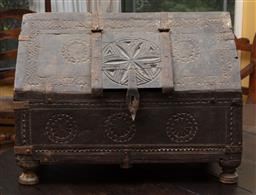 Sale 9120H - Lot 206 - An antique oak carved reliquary casket over bun feet with carved floral decoration, Height 33cm x Width 44cm x Depth 25cm  some lo...