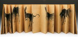 Sale 9144 - Lot 270 - Chinese ink painting booklet of donkeys (29cm x 10cm)