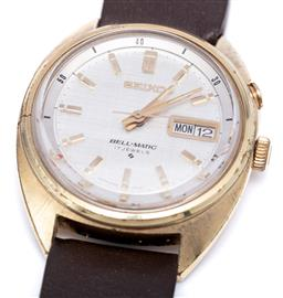 Sale 9209J - Lot 350 - VINTAGE SEIKO BELL-MATIC AUTOMATIC WRISTWATCH; ref. 4006-6010 in gold plated stainless steel with tapestry dial, applied lume hands...
