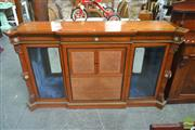 Sale 8255 - Lot 1001 - Victorian Satinwood Ebonized & Marquetry Breakfront Cabinet, with gilt brass mounts & Wedgwood type plaques, the centre door flanked...