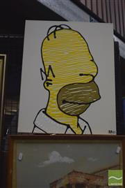 Sale 8441A - Lot 5029 - Jack Vigor (Street Artist, CASPER) - Homer (The Simpsons) 51.5 x 40.5cm (stretched & ready to hang)
