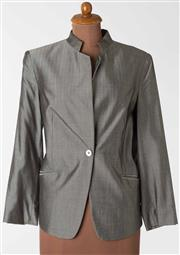 Sale 8550F - Lot 97 - A Feraud silk blend jacket in silver/grey herringbone pattern, size F 46, D44.