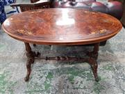Sale 8792 - Lot 1043 - Victorian Figured Walnut Occasional / Side Table, the oval top inlaid with convolvulus, on turned fluted supports joined by a stretc...