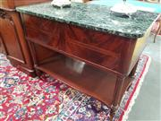 Sale 8831 - Lot 1059 - Mahogany Serving Table with Marble Top (keys in office)