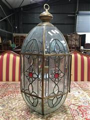 Sale 8882 - Lot 1055 - Hexagonal Glass Hall Lantern, with bevelled & coloured glass panels
