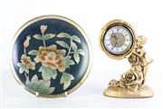 Sale 8977 - Lot 90 - A Reproduction Gilded Mantle Clock Together (H 25cm) with A Lacquered Plate (Dia 26cm)