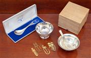 Sale 9055H - Lot 93 - A small group of commemorative metal wares including presentation bowls, spoons, and bookmarks.