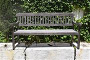 Sale 9087H - Lot 239 - A hardwood bench with weathered patina. 1.58m leg to leg