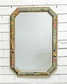 Sale 9108 - Lot 1017 - Gilt & hand painted floral border on timber framed hexagonal mirror (69 x 49cm)