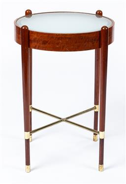 Sale 9130S - Lot 9 - A timber glass top occasional table with brass X frame base, Height 58cm x Diameter 40cm