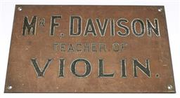 Sale 9148 - Lot 57 - An early brass violin sign (38cm x 23cm)