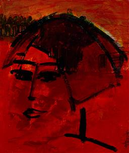 Sale 9180A - Lot 5017 - LEENE AAVIK (1944 - ) Madam acrylic on canvas 50 x 42 cm signed lower right, titled verso