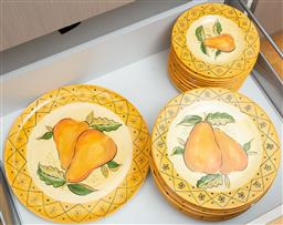 Sale 9165H - Lot 178 - A collection of Orchard Pear hand painted dinnerwares including ten dinner plates, ten side plates and a serving platter.