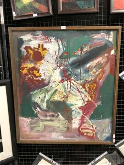 Sale 9163 - Lot 2022 - Artist Unknown Abstract oil on canvas 74 x 64cm (frame) initialled RB lower left