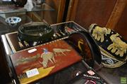 Sale 8214 - Lot 2378 - Hand Painted Kookaburra Paper Holder with Other Wares incl a Hand Embroidered Hat