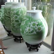Sale 8236 - Lot 64 - Contemporary Floral Pair of Japanese Vases on Stands