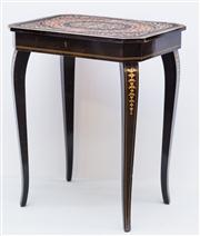 Sale 8287A - Lot 106 - A marquetry timber musical side table. (Musical movement not currently working), 140cm high x 50cm wide x 39cm deep