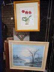 Sale 8362 - Lot 2101A - Oil On Board Landscape and a Botanical Print
