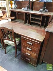 Sale 8447 - Lot 1075 - Single Pedestal Desk with Filer Top