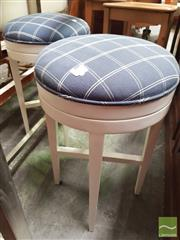 Sale 8455 - Lot 1090 - Pair of Modern White Bar Stools with Chequered Blue Fabric Top