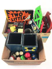 Sale 8539M - Lot 241 - A Selection of Magicians Props incl a handmade apparatus with light and switch fittings, boxes, blocks, balls and Two Little Dicky...